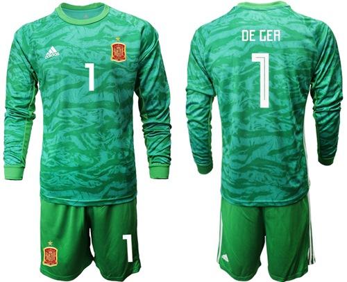 Spain #1 De Gea Green Long Sleeves Goalkeeper Soccer Country Jersey