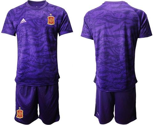 Spain Blank Purple Goalkeeper Soccer Country Jersey