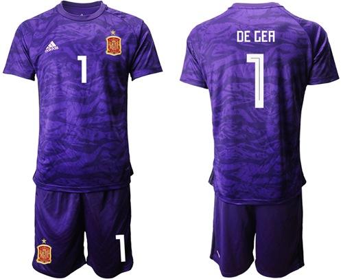 Spain #1 De Gea Purple Goalkeeper Soccer Country Jersey