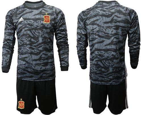 Spain Blank Black Long Sleeves Goalkeeper Soccer Country Jersey