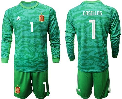 Spain #1 Casillas Green Long Sleeves Goalkeeper Soccer Country Jersey