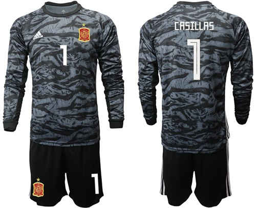Spain #1 Casillas Black Long Sleeves Goalkeeper Soccer Country Jersey