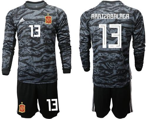 Spain #13 Arrizabalaga Black Long Sleeves Goalkeeper Soccer Country Jersey