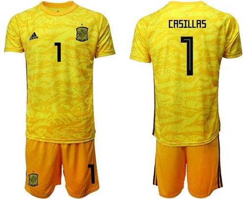Spain #1 Casillas Yellow Goalkeeper Soccer Country Jersey