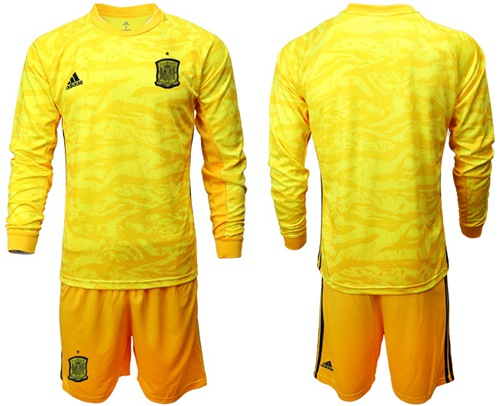 Spain Blank Yellow Long Sleeves Goalkeeper Soccer Country Jersey