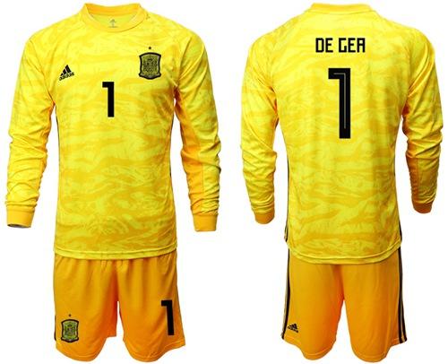 Spain #1 De Gea Yellow Long Sleeves Goalkeeper Soccer Country Jersey
