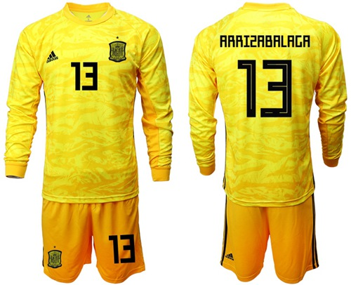 Spain #13 Arrizabalaga Yellow Long Sleeves Goalkeeper Soccer Country Jersey