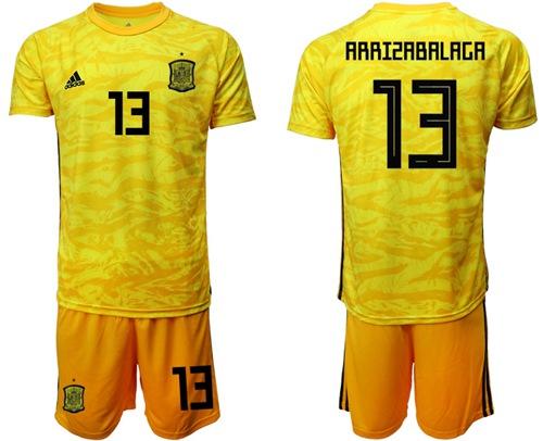 Spain #13 Arrizabalaga Yellow Goalkeeper Soccer Country Jersey