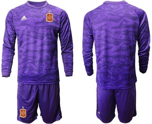 Spain Blank Purple Long Sleeves Goalkeeper Soccer Country Jersey