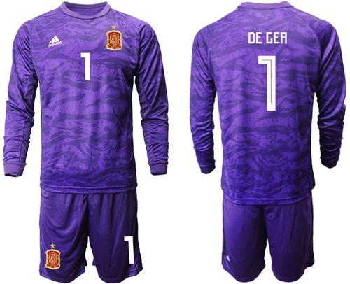 Spain #1 De Gea Purple Long Sleeves Goalkeeper Soccer Country Jersey