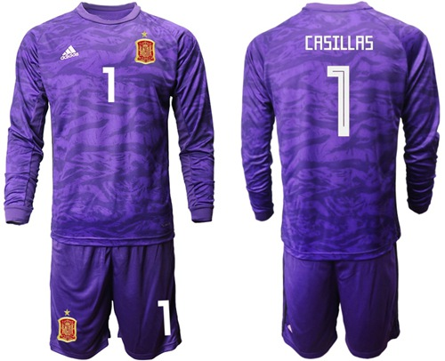 Spain #1 Casillas Purple Long Sleeves Goalkeeper Soccer Country Jersey