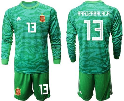Spain #13 Arrizabalaga Green Long Sleeves Goalkeeper Soccer Country Jersey