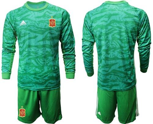 Spain Blank Green Long Sleeves Goalkeeper Soccer Country Jersey