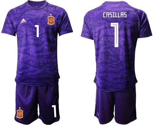 Spain #1 Casillas Purple Goalkeeper Soccer Country Jersey