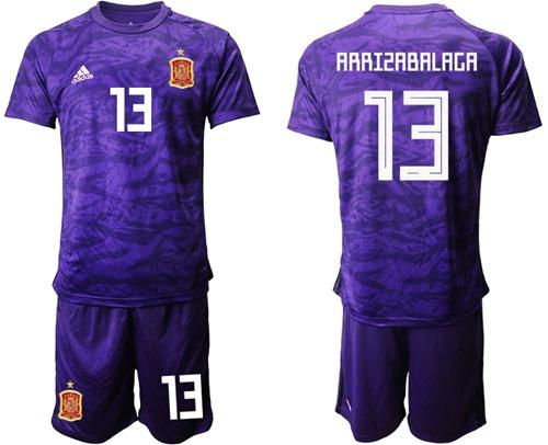 Spain #13 Arrizabalaga Purple Goalkeeper Soccer Country Jersey