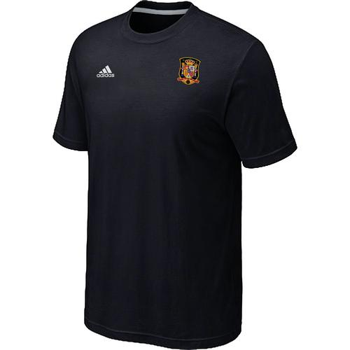 Adidas Spain 2014 World Small Logo Soccer T-Shirt Black
