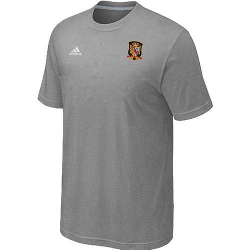 Adidas Spain 2014 World Small Logo Soccer T-Shirt Light Grey