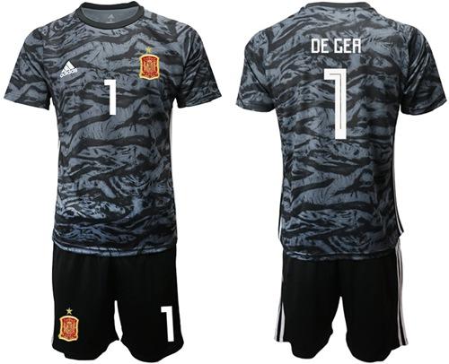 Spain #1 De Gea Black Goalkeeper Soccer Country Jersey