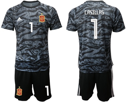 Spain #1 Casillas Black Goalkeeper Soccer Country Jersey