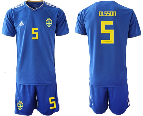 Sweden #5 Olsson Away Soccer Country Jersey