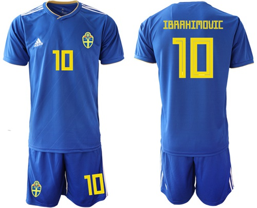 Sweden #10 Ibrahimovic Away Soccer Country Jersey