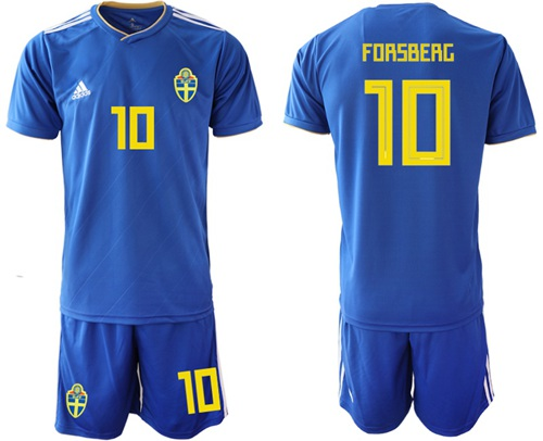 Sweden #10 Forsberg Away Soccer Country Jersey