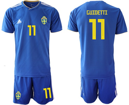 Sweden #11 Guidetti Away Soccer Country Jersey