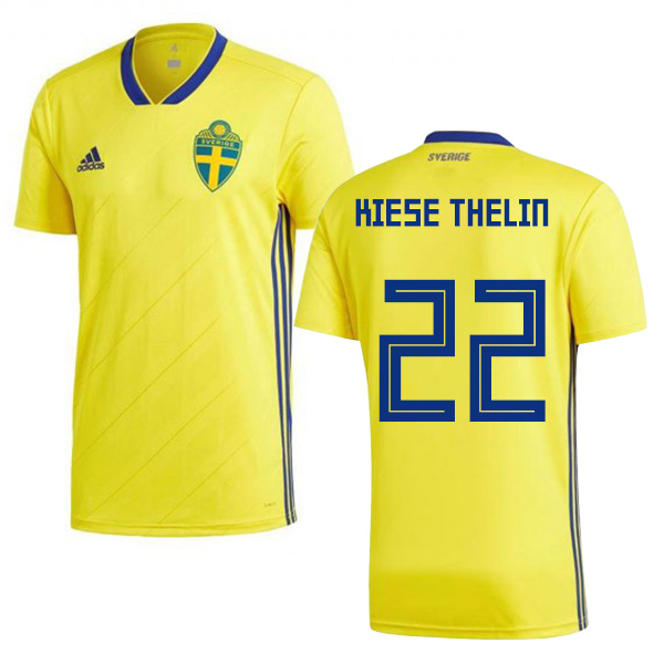 Sweden #22 Kiese Thelin Home Soccer Country Jersey