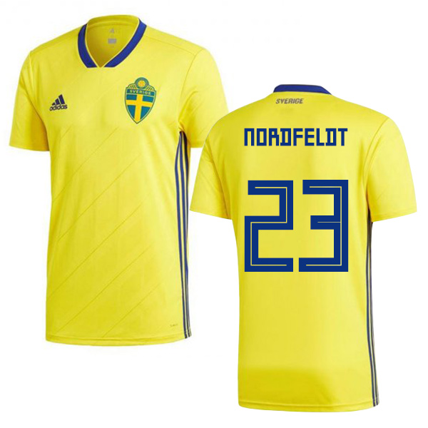 Sweden #23 Nordfeldt Home Soccer Country Jersey