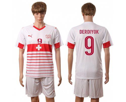 Switzerland #9 Derdiyok Away Soccer Country Jersey