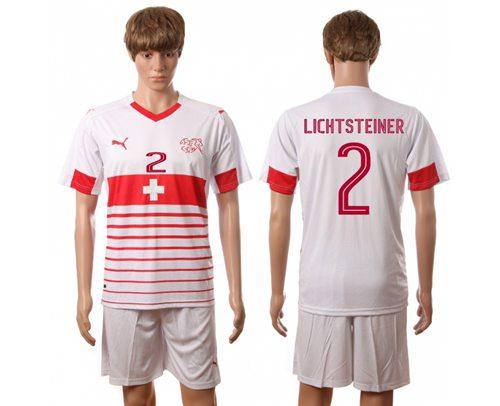 Switzerland #2 Lichtsteiner Away Soccer Country Jersey