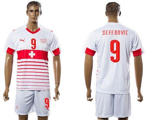 Switzerland #9 Seferovic Away Soccer Country Jersey