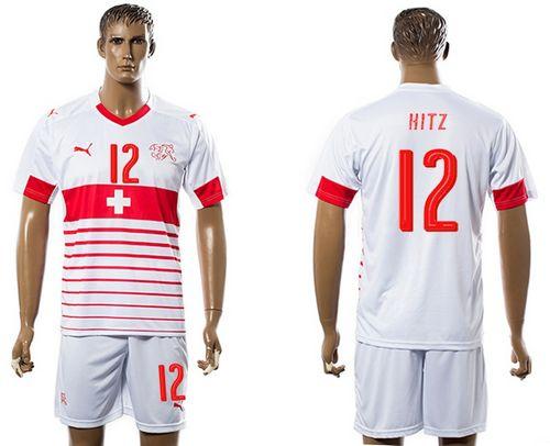 Switzerland #12 Hitz Away Soccer Country Jersey