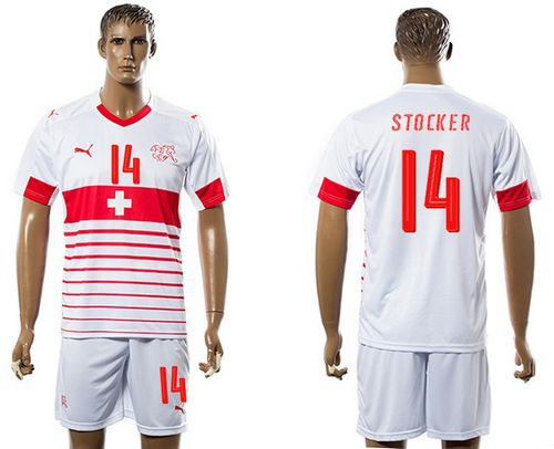 Switzerland #14 Stocker Away Soccer Country Jersey