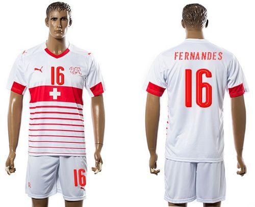 Switzerland #16 Fernandes Away Soccer Country Jersey