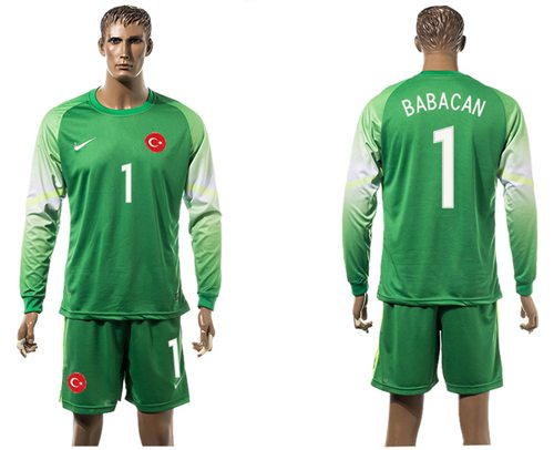 Turkey #1 Babacan Green Goalkeeper Long Sleeves Soccer Country Jersey