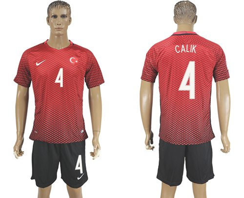 Turkey #4 Calik Home Soccer Country Jersey