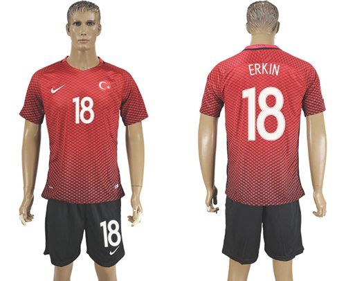 Turkey #18 Erkin Home Soccer Country Jersey