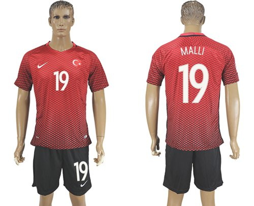 Turkey #19 Malli Home Soccer Country Jersey