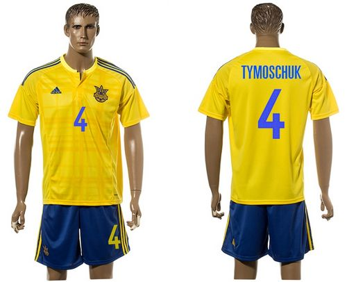 Ukraine #4 Tymoschuk Home Soccer Country Jersey