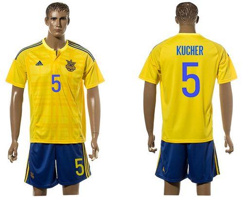 Ukraine #5 Kucher Home Soccer Country Jersey