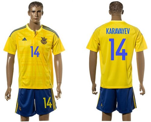 Ukraine #14 Karavayev Home Soccer Country Jersey