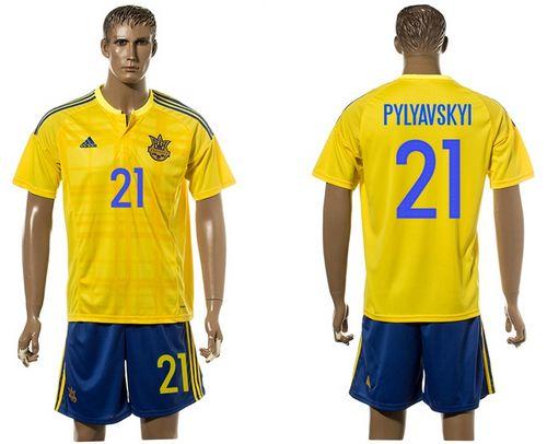 Ukraine #21 Pylyavskyi Home Soccer Country Jersey