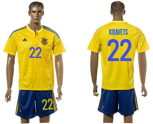 Ukraine #22 Kravets Home Soccer Country Jersey