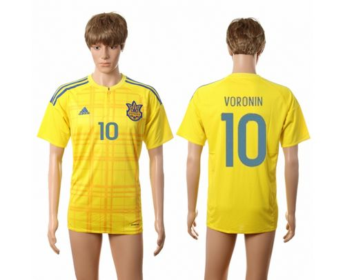 Ukraine #10 Voronin Home Soccer Country Jersey