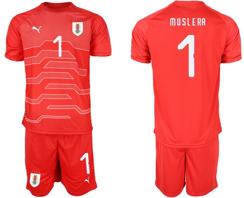 Uruguay #1 Muslera Red Goalkeeper Soccer Country Jersey