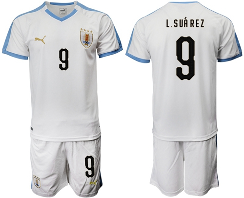 Uruguay #9 L.Suarez Away Soccer Country Jersey