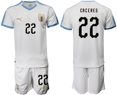 Uruguay #22 Caceres Away Soccer Country Jersey