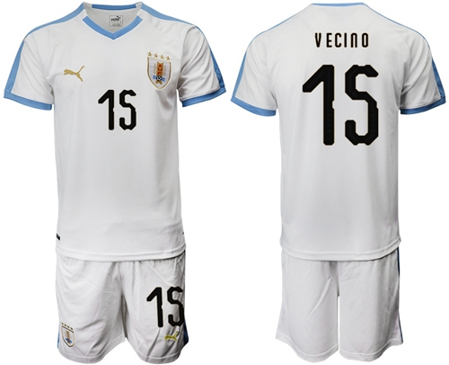 Uruguay #15 Vecino Away Soccer Country Jersey