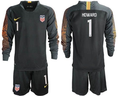 USA #1 Howard Black Goalkeeper Long Sleeves Soccer Country Jersey